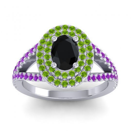 Ornate Oval Halo Dhala Black Onyx Ring with Peridot and Amethyst in Palladium