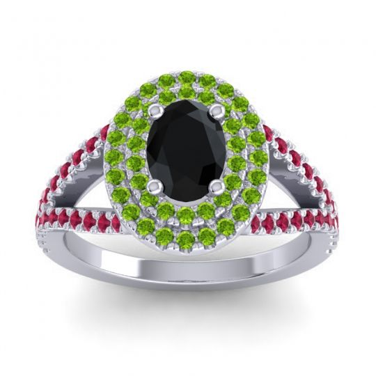 Ornate Oval Halo Dhala Black Onyx Ring with Peridot and Ruby in Palladium