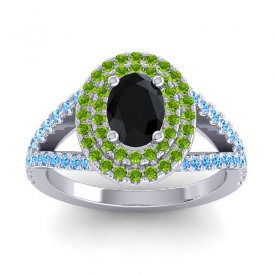 Ornate Oval Halo Dhala Black Onyx Ring with Peridot and Swiss Blue Topaz in Palladium
