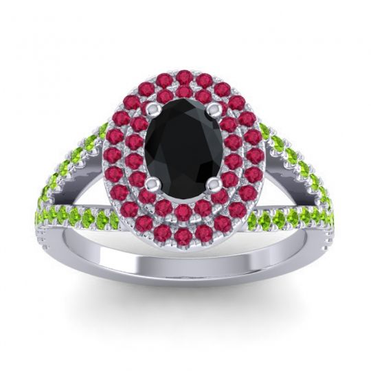Ornate Oval Halo Dhala Black Onyx Ring with Ruby and Peridot in 18k White Gold