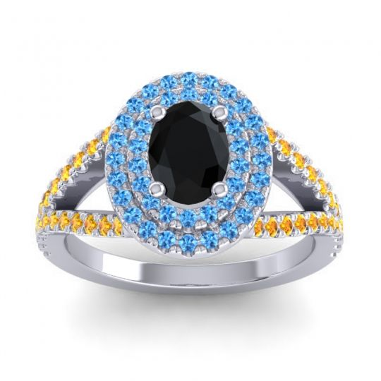 Ornate Oval Halo Dhala Black Onyx Ring with Swiss Blue Topaz and Citrine in 18k White Gold
