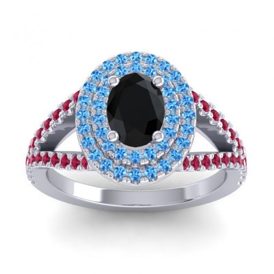 Ornate Oval Halo Dhala Black Onyx Ring with Swiss Blue Topaz and Ruby in Palladium