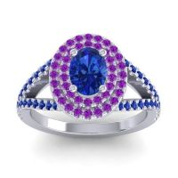 Ornate Oval Halo Dhala Blue Sapphire Ring with Amethyst in 14k White Gold