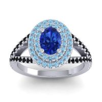 Ornate Oval Halo Dhala Blue Sapphire Ring with Aquamarine and Black Onyx in 18k White Gold