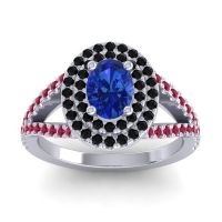 Ornate Oval Halo Dhala Blue Sapphire Ring with Black Onyx and Ruby in 18k White Gold