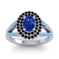 Ornate Oval Halo Dhala Blue Sapphire Ring with Black Onyx and Swiss Blue Topaz in 18k White Gold