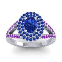 Ornate Oval Halo Dhala Blue Sapphire Ring with Amethyst in Platinum
