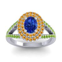 Ornate Oval Halo Dhala Blue Sapphire Ring with Citrine and Peridot in 18k White Gold