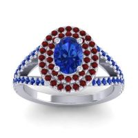 Ornate Oval Halo Dhala Blue Sapphire Ring with Garnet in Platinum