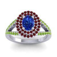 Ornate Oval Halo Dhala Blue Sapphire Ring with Garnet and Peridot in 14k White Gold