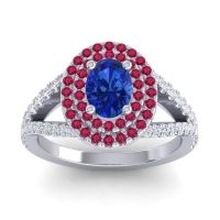 Ornate Oval Halo Dhala Blue Sapphire Ring with Ruby and Diamond in 14k White Gold