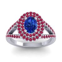 Ornate Oval Halo Dhala Blue Sapphire Ring with Ruby in 18k White Gold