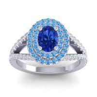 Ornate Oval Halo Dhala Blue Sapphire Ring with Swiss Blue Topaz and Diamond in Platinum