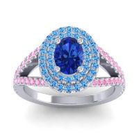 Ornate Oval Halo Dhala Blue Sapphire Ring with Swiss Blue Topaz and Pink Tourmaline in 18k White Gold