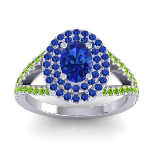 Ornate Oval Halo Dhala Blue Sapphire Ring with Peridot in Palladium
