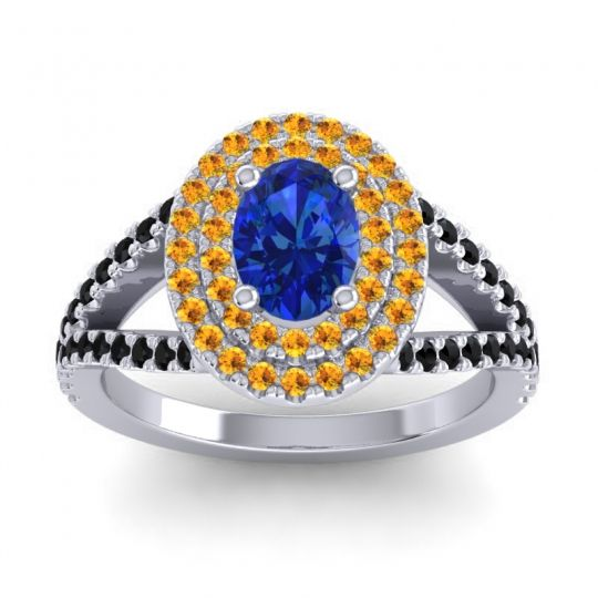 Ornate Oval Halo Dhala Blue Sapphire Ring with Citrine and Black Onyx in Palladium