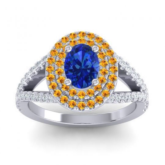 Ornate Oval Halo Dhala Blue Sapphire Ring with Citrine and Diamond in Platinum