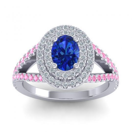 Ornate Oval Halo Dhala Blue Sapphire Ring with Diamond and Pink Tourmaline in Platinum
