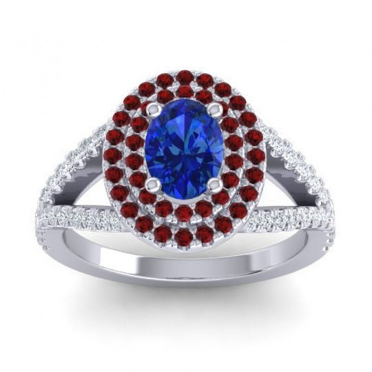 Ornate Oval Halo Dhala Blue Sapphire Ring with Garnet and Diamond in 18k White Gold