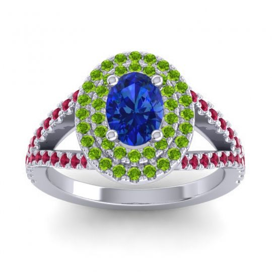 Ornate Oval Halo Dhala Blue Sapphire Ring with Peridot and Ruby in Platinum