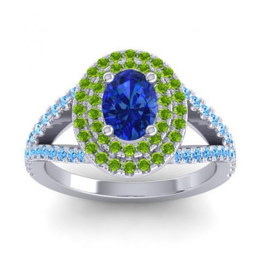 Ornate Oval Halo Dhala Blue Sapphire Ring with Peridot and Swiss Blue Topaz in Platinum