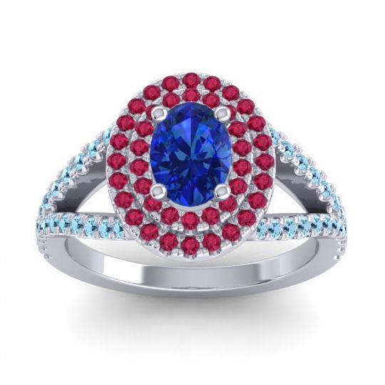 Ornate Oval Halo Dhala Blue Sapphire Ring with Ruby and Aquamarine in Palladium