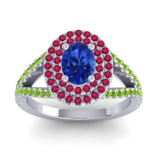 Ornate Oval Halo Dhala Blue Sapphire Ring with Ruby and Peridot in 14k White Gold