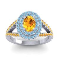 Ornate Oval Halo Dhala Citrine Ring with Aquamarine in Platinum