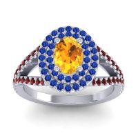 Ornate Oval Halo Dhala Citrine Ring with Blue Sapphire and Garnet in 14k White Gold
