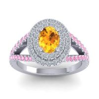Ornate Oval Halo Dhala Citrine Ring with Diamond and Pink Tourmaline in Palladium