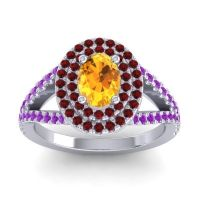 Ornate Oval Halo Dhala Citrine Ring with Garnet and Amethyst in Platinum