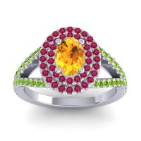Ornate Oval Halo Dhala Citrine Ring with Ruby and Peridot in 18k White Gold