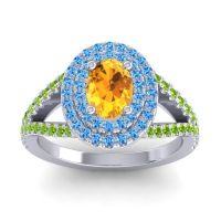 Ornate Oval Halo Dhala Citrine Ring with Swiss Blue Topaz and Peridot in Platinum