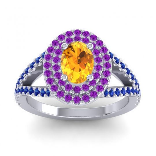 Ornate Oval Halo Dhala Citrine Ring with Amethyst and Blue Sapphire in 14k White Gold