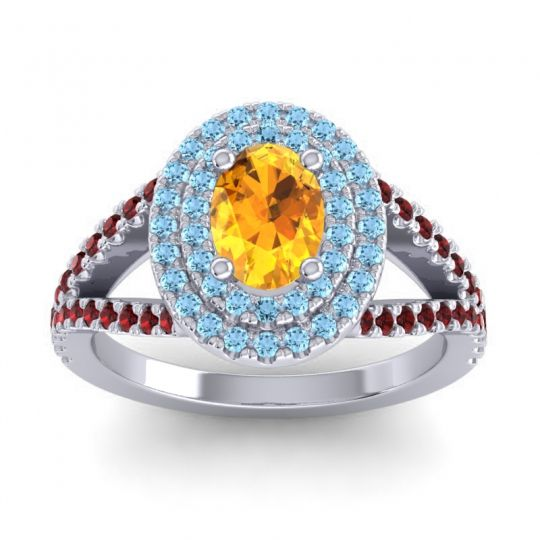 Ornate Oval Halo Dhala Citrine Ring with Aquamarine and Garnet in 14k White Gold