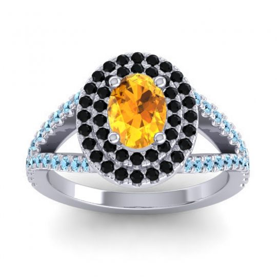 Ornate Oval Halo Dhala Citrine Ring with Black Onyx and Aquamarine in Platinum