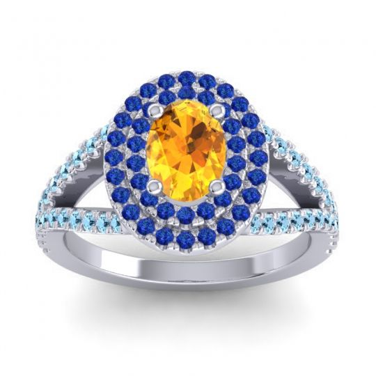 Ornate Oval Halo Dhala Citrine Ring with Blue Sapphire and Aquamarine in 14k White Gold