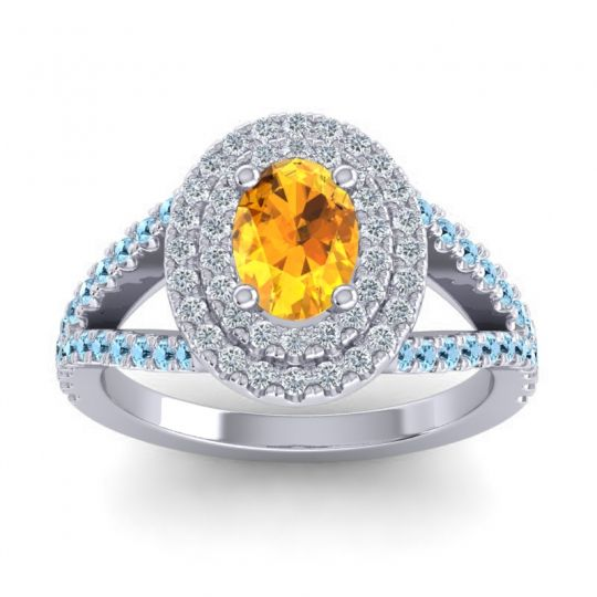 Ornate Oval Halo Dhala Citrine Ring with Diamond and Aquamarine in 14k White Gold