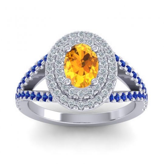 Ornate Oval Halo Dhala Citrine Ring with Diamond and Blue Sapphire in 18k White Gold