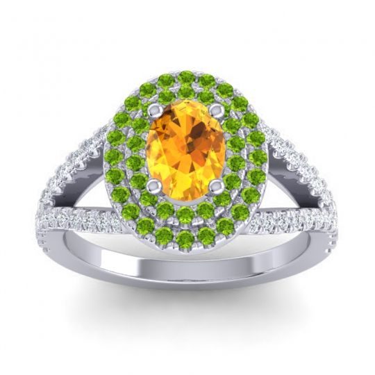 Ornate Oval Halo Dhala Citrine Ring with Peridot and Diamond in 18k White Gold
