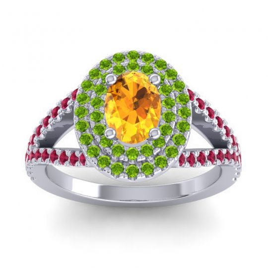 Ornate Oval Halo Dhala Citrine Ring with Peridot and Ruby in Palladium