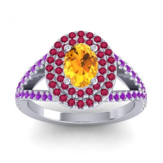 Ornate Oval Halo Dhala Citrine Ring with Ruby and Amethyst in Platinum