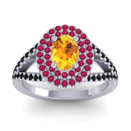 Ornate Oval Halo Dhala Citrine Ring with Ruby and Black Onyx in Platinum