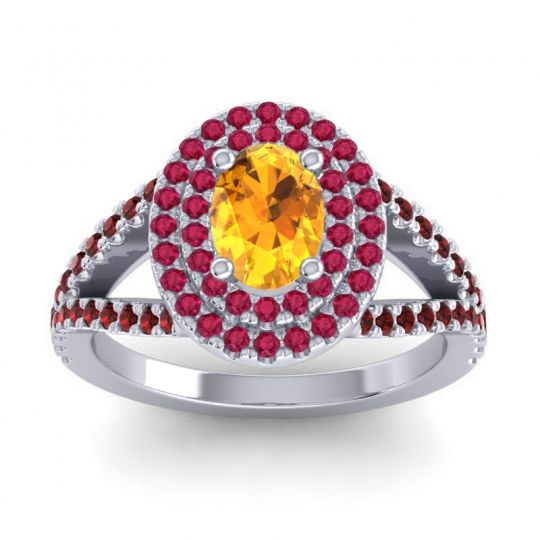 Ornate Oval Halo Dhala Citrine Ring with Ruby and Garnet in Platinum