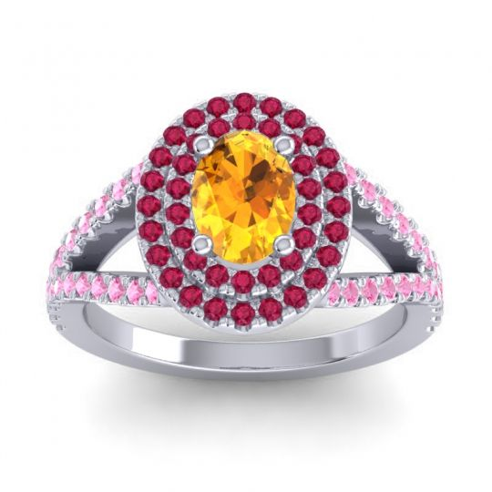 Ornate Oval Halo Dhala Citrine Ring with Ruby and Pink Tourmaline in 18k White Gold