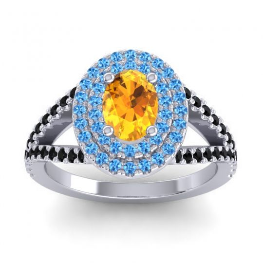 Ornate Oval Halo Dhala Citrine Ring with Swiss Blue Topaz and Black Onyx in Palladium