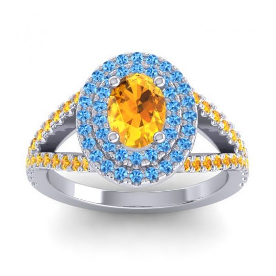 Ornate Oval Halo Dhala Citrine Ring with Swiss Blue Topaz in Platinum