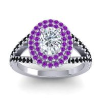 Ornate Oval Halo Dhala Diamond Ring with Amethyst and Black Onyx in 18k White Gold