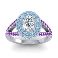 Ornate Oval Halo Dhala Diamond Ring with Aquamarine and Amethyst in 18k White Gold