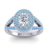 Ornate Oval Halo Dhala Diamond Ring with Aquamarine and Swiss Blue Topaz in Platinum